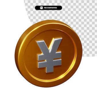 Renderização 3d de ienes moedas isolada