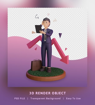 Renderização 3d de ilustração de infográficos de crise financeira com estatística e personagem