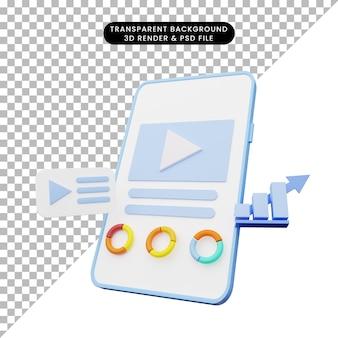 Renderização 3d de ilustração de interface do usuário no smartphone Psd Premium