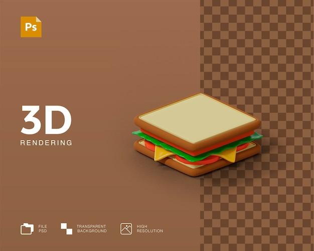 Renderização 3d de ilustração de sanduíche