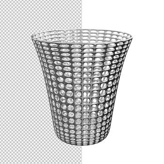 Renderização 3d de ilustração isolada de lata de lixo de aço inoxidável