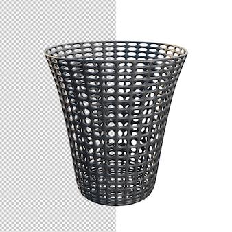 Renderização 3d de ilustração isolada de lata de lixo de plástico
