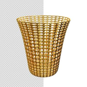 Renderização 3d de ilustração isolada de lata de lixo dourada