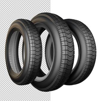 Renderização 3d de ilustração isolada de pneu