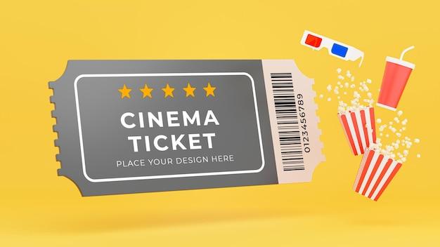 Renderização 3d de ingresso de cinema, pipoca, caneca, óculos 3d