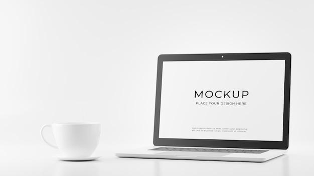 Renderização 3d de laptop com design de maquete de café de caneca branca