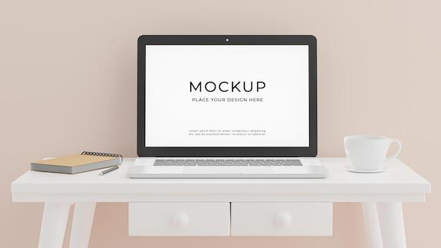 Renderização 3d de laptop com maquete de conceito de sala de trabalho
