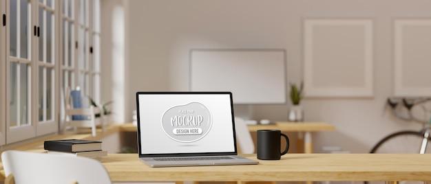 Renderização 3d de laptop com tela de maquete