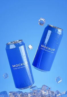 Renderização 3d de lata de bebida com maquete de cubo de gelo