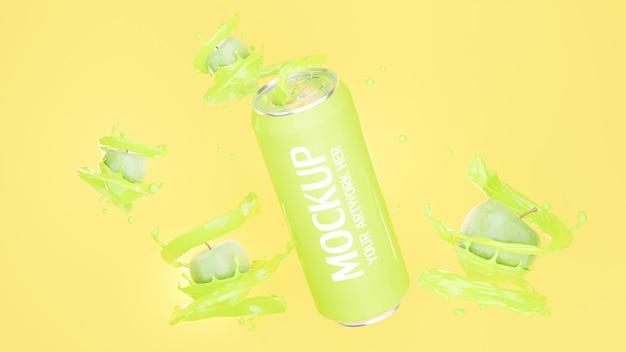 Renderização 3d de lata de suco de maçã para marca de maquete