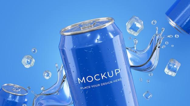 Renderização 3d de latas de bebida com maquete de respingos de água