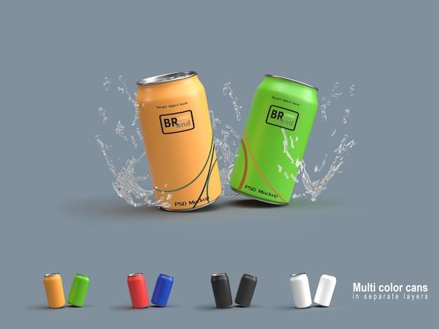 Renderização 3d de latas e respingos de água. rótulo de maquete na camada de objeto inteligente.