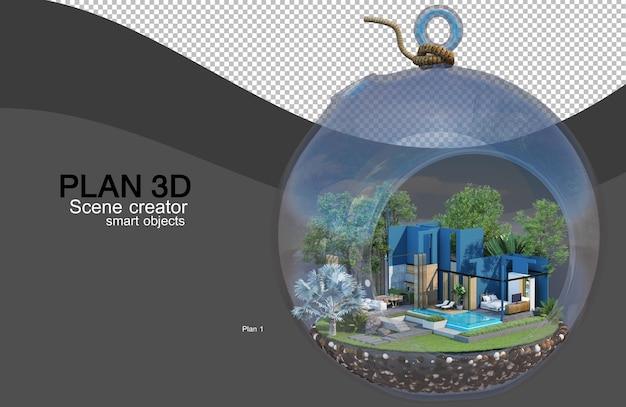 Renderização 3d de layouts de casas e edifícios