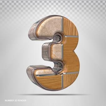 Renderização 3d de madeira de estilo de conceito número 3