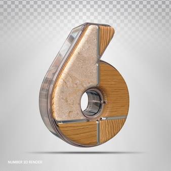 Renderização 3d de madeira de estilo de conceito número 6