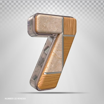 Renderização 3d de madeira de estilo de conceito número 7