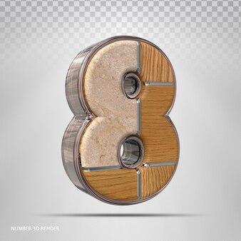 Renderização 3d de madeira de estilo de conceito número 8