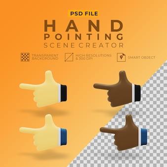 Renderização 3d de mão apontando definido para o criador de cena