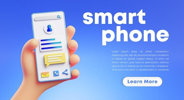 Renderização 3d de mão fofa segurando renderização de telefone Psd Premium