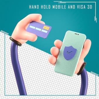 Renderização 3d de mão segurando celular e cartão de crédito