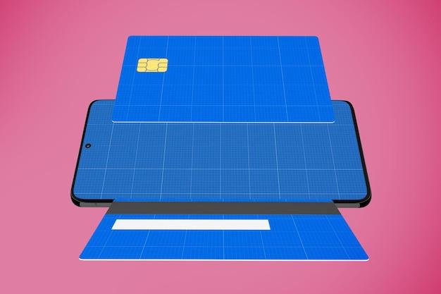 Renderização 3d de maquete de aplicativo de cartão de crédito