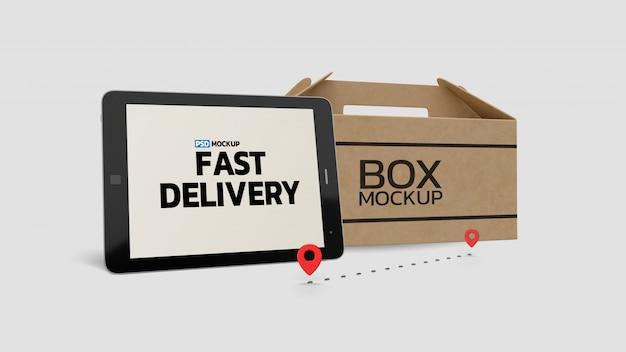 Renderização 3d de maquete de caixa de entrega on-line