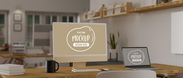 Renderização 3d de maquete de computador e laptop na aconchegante sala de escritório