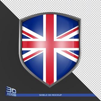 Renderização 3d de maquete de escudo isolada