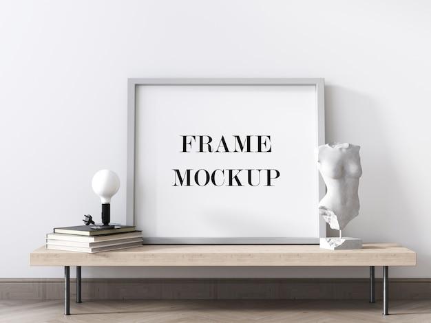 Renderização 3d de maquete de moldura de foto branca