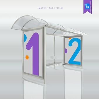 Renderização 3d de maquete de parada de ônibus