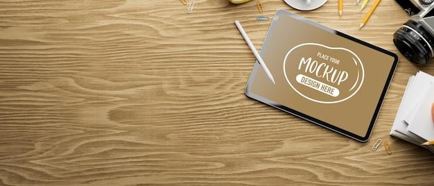 Renderização 3d de maquete de tablet digital