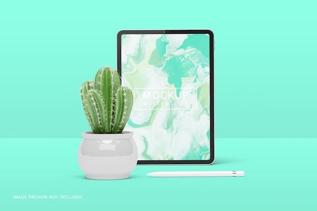 Renderização 3d de maquete de tela de tablet