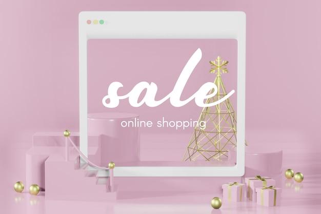 Renderização 3d de maquete vazia de natal para compras online