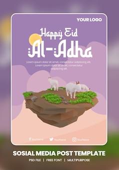 Renderização 3d de modelo de tema de pôster de mídia social eid al adha