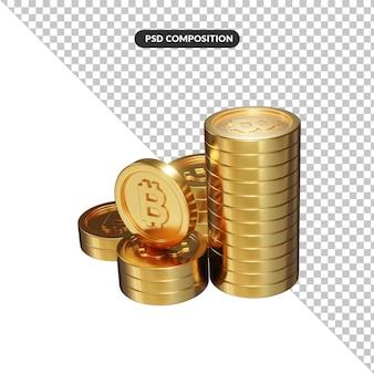 Renderização 3d de moeda bitcoin a granel de ouro isolada
