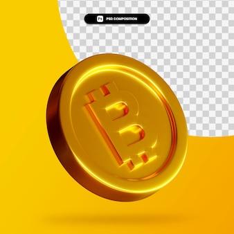 Renderização 3d de moeda bitcoin dourada isolada