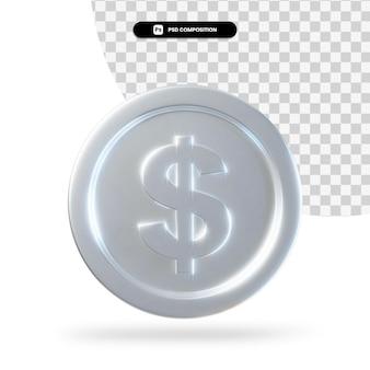 Renderização 3d de moeda de dólar de prata isolada