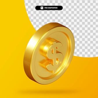 Renderização 3d de moeda de dólar dourado isolada