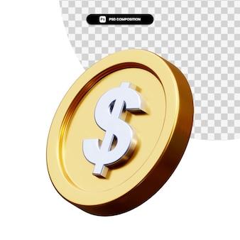 Renderização 3d de moeda de dólar isolada