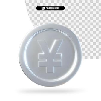 Renderização 3d de moeda de iene prata isolada