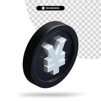 Renderização 3d de moeda de iene preto isolada