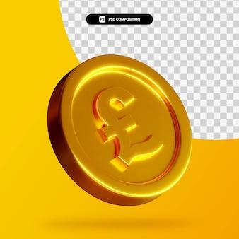 Renderização 3d de moeda de libra dourada isolada