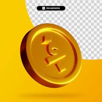 Renderização 3d de moeda dourada afegã isolada