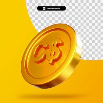 Renderização 3d de moeda dourada de dólar canadense isolada