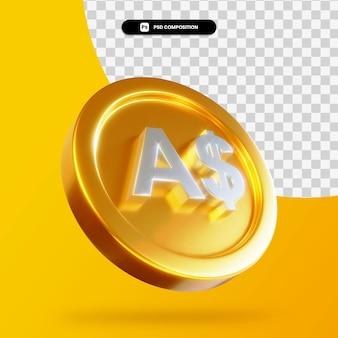 Renderização 3d de moeda dourada de dólares australianos isolada