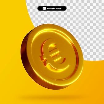 Renderização 3d de moeda dourada de euro isolada