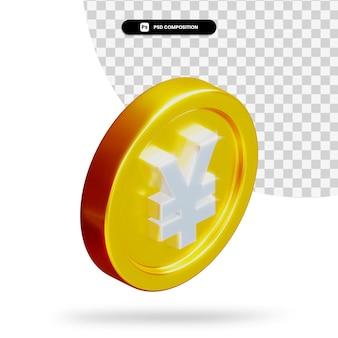 Renderização 3d de moeda dourada de iene isolada