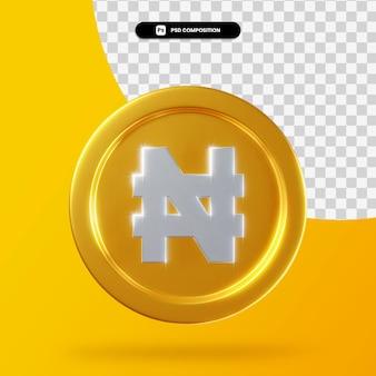 Renderização 3d de moeda dourada naira isolada