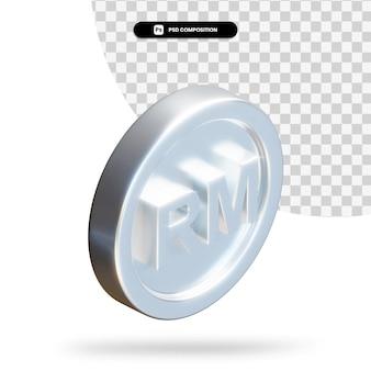 Renderização 3d de moeda ringgit de prata isolada