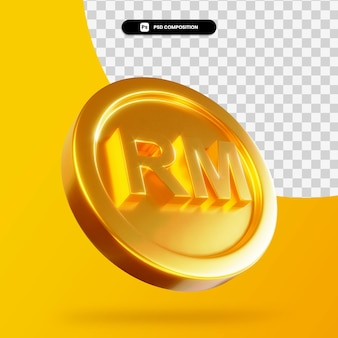 Renderização 3d de moeda ringgit dourada isolada